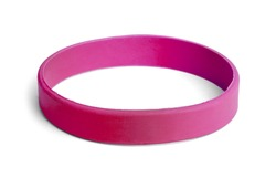 Blank rubber plastic stretch Pink bracelet isolated on white background.