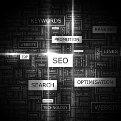SEO. Word cloud concept illustration.