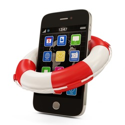 Mobile security concept. Touchscreen Smartphone with Red Lifebelt isolated on white background
