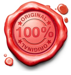 original authentic content or product quality label authenticity guaranteed 100% originality new innovation red wax seal stamp