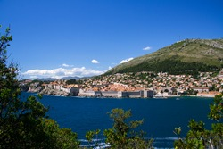 The walled city of Dubrovnik as viewed from the island of Lokrum