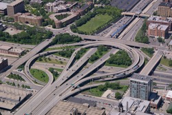 Aerial view of highway interchange in Chicago, Illinois (290 & 90/94).