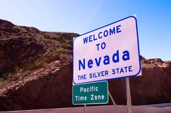 Welcome to Nevada road sign - the silver state
