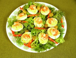 Shrimp filled devilled eggs