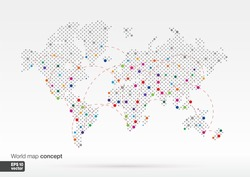 Stylized World Map concept with biggest cities. Globes business background.Colorful vector illustration. With lines for communication, travel, transport, network and web design.