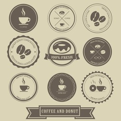 Coffee and Donut Label Design