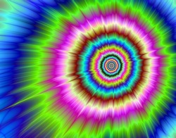 Color explosion producing a optical illusion of movement.