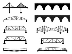 Set of bridge illustrated on white