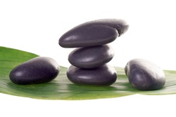 Hot Stones with green leaf / wellness