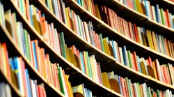 Books in tall Bookshelf, in public library
