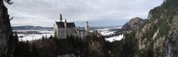 Panorama of castle Neuschwanstein in Germany