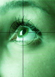 High-tech technology background with targeted eye scan