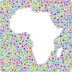 Decorative map of Africa in a mosaic of harlequin bubbles A number of 3927 little bubbles are accurately inserted into the mosaic. White background.