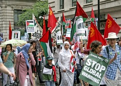 Protest march in London against Lebanon bombing by Israel