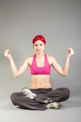 attractive woman in yoga pose