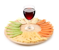 Red wine and cheese composition. Isolated on a white background.
