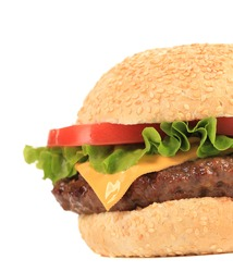 Close up of big tasty hamburger. Whole background.