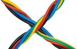 a multi colored computer cable , x shape