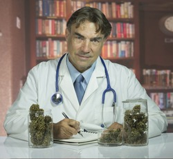 Doctor with medical marijuana