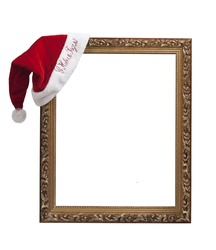 "Empty frame with the hat Santa Claus with the words ""happy new year!"" in Russian."