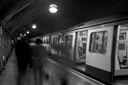 Black & White: Stationary Train, London Underground