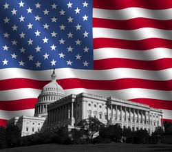 US Capitol building Washington DC with rippled American flag