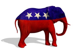 3D render of a painted elephant. The elephant is the symbol for the republican party in the US.