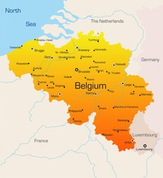 Abstract vector color map of Belgium country