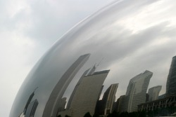 Chicago - Skyline Arched Reflections - At the Millenium Park on a cloudy day