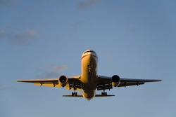The front of an Airbus A310 nicely illuminated from the side by the setting sun.