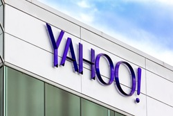 SUNNYVALE, CA/USA - MARCH 1, 2014:  Yahoo Corporate Headquarters Sign. Yahoo is a multinational Internet corporation globally known for its Web portal, search engine Yahoo Search, and related services
