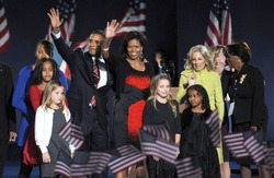 Malia Obama, US President Elect Senator Barack Obama, Michelle Obama, Sasha Obama, Jill Biden, Joe Biden at Barack Obama US Presidential Election Victory Speech, Chicago, Nov 04, 2008