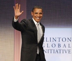 US President Barack Obama at a public appearance for 2009 Annual Meeting of the Clinton Global Initiative-Opening Plenary, Sheraton New York Hotel and Towers, New York September 22, 2009