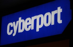 "MARCH 20, 2014 - BERLIN: the logo of the brand ""Cyberport"", Berlin."