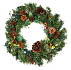 Beautiful Christmas Wreath Isolated on White