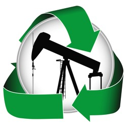 Environmentally sensitive oil production or alternative oil exploration can be promoted with this icon.