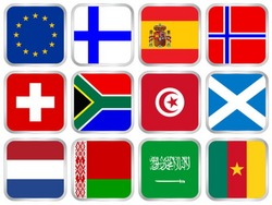 National flags square icon set. Vector illustration.