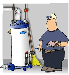Illustration of a man in uniform checking a gas water heater.