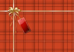 Vector illustration of Scottish plaid gift wrapping with golden ribbon, bow and red empty tag