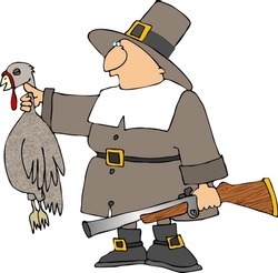 Pilgrim with a turkey