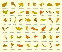 map of asia country big vector set of all asia states with names under silhouette