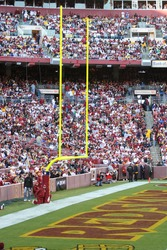 Washington DC - October 19: VIew of the Redskins End zone at the Fedex Field in Washington DC on October 19 when Redskins defeated Cleveland Browns 14-11