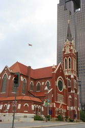 Airplane, church and high-rise