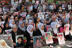 ISTANBUL,TURKEY-OCT 25: The mothers of people who have disappeared, mainly at the hands of the state, known as the Saturday Mothers, met for the 500th time on Oct 25th on October 25,2014 in Turkey.