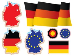 Collection of german national design elements, vector. The base map is from Central Intelligence Agency Web site.