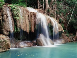 Erawan Falls in the Erawan National Park, Kanchanaburi Province, Thailand