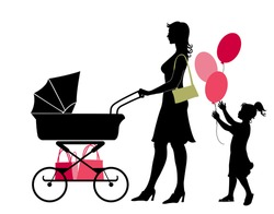 Vector illustration of the walking mother, pushing the stroller and her daughter, holding the balloons.