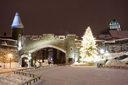 Quebec city landmark. Old fortress in winter.  Night scene from Quebec city, Canada.