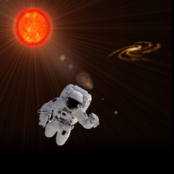 Flying astronaut on a background with Sun. Some components of this image are provided courtesy of NASA, and have been found at nasaimages.org