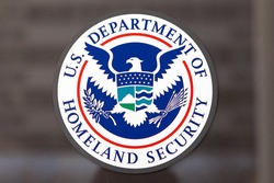 WASHINGTON, DC - FEBRUARY 15: Department of Homeland Security Seal located outside the Federal Emergency Management Agency headquarters in Washington, DC on February 15, 2015.